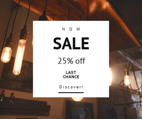 Square large web banner template for sales - #banner #businnes #sales #CallToAction #salesbanner #atmosphere #accessory #lightbulb #restaurant #with #ceiling