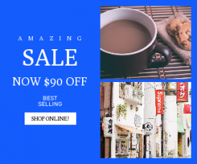 Square large web banner template for sales - #banner #businnes #sales #CallToAction #salesbanner #building #hot #shop #biscuit #mug