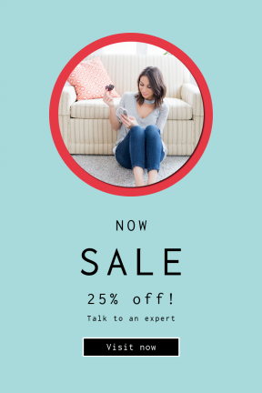 Portrait design template for sales - #banner #businnes #sales #CallToAction #salesbanner #couch #looking #sitting #millenian #square #phone #design #user #technology #at
