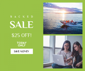 Square large web banner template for sales - #banner #businnes #sales #CallToAction #salesbanner #education #golden #sunset #people #computer #island