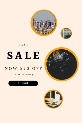 Portrait design template for sales - #banner #businnes #sales #CallToAction #salesbanner #shapes #design #coffee #urban #met #state #smartphone #person
