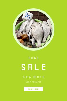 Portrait design template for sales - #banner #businnes #sales #CallToAction #salesbanner #fish #music #bargain #fresh #shape #drum #of #bowl #ingredient