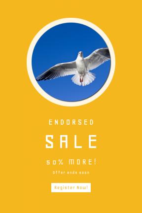 Portrait design template for sales - #banner #businnes #sales #CallToAction #salesbanner #flying #wildlife #freedom #claw #pigeon #beak #coastal