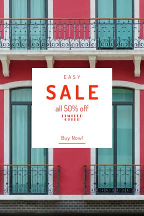 Portrait design template for sales - #banner #businnes #sales #CallToAction #salesbanner #architecture #glass #urban #red #portugal #design #lisboa #facade #balcony #city