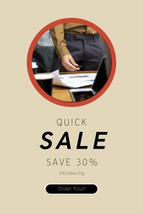 Portrait design template for sales - #banner #businnes #sales #CallToAction #salesbanner #circular #desk #shape #westerner #pen #black