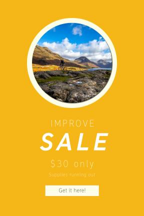 Portrait design template for sales - #banner #businnes #sales #CallToAction #salesbanner #mountain #blue #shapes #sky #cliff #bike #geometry #cloud #landscape