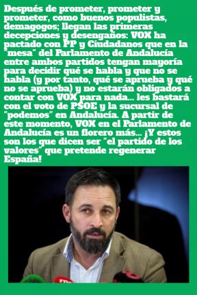Primera traición de VOX a sus electores en Andalucía