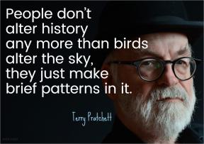 Pratchett - people alter history birds sky brief patterns