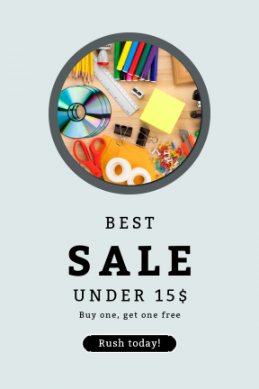 Portrait design template for sales - #banner #businnes #sales #CallToAction #salesbanner #desk #planner #bg #top #corners #white #view #accessory #ribbon #office