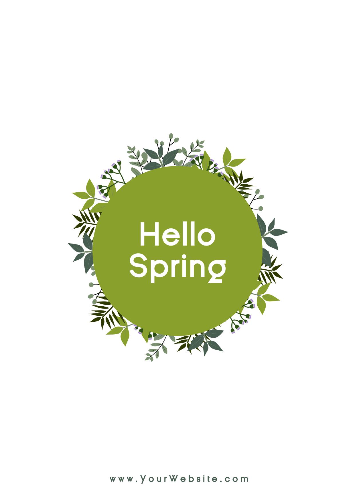 Hello spring social media post - Design  Template