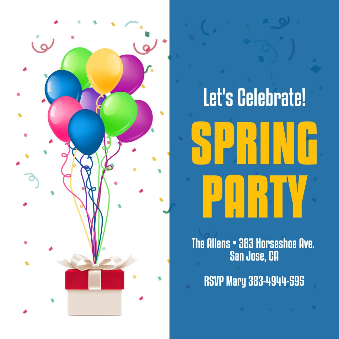 Spring Party Anniversay Invitation Design  Template