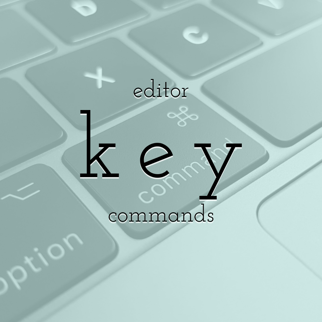PixTeller Editor Key Commands and Common operations