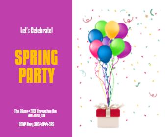 Spring Party Anniversay Invitation Design  Template