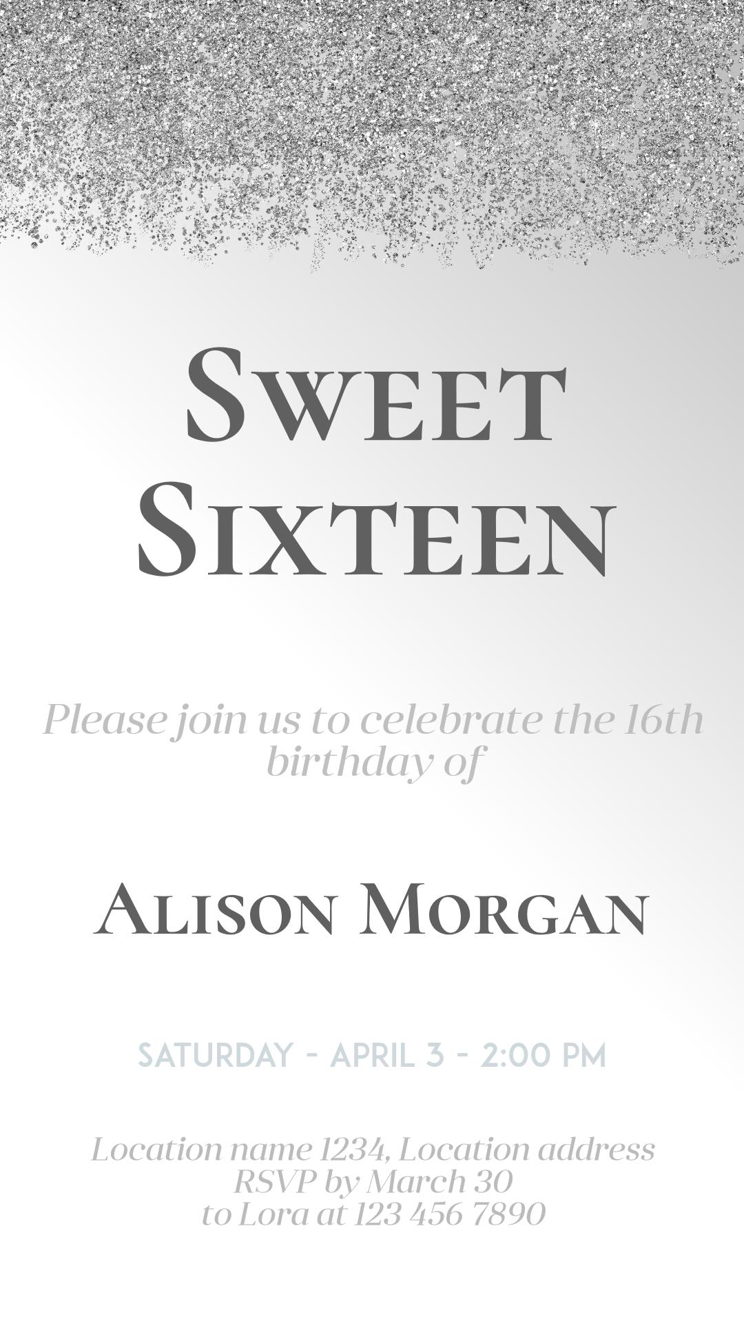 Sweet Sixteen #invitation Animation  Template