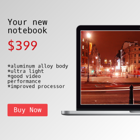Simple Shop Banner with Notebook Mockup
