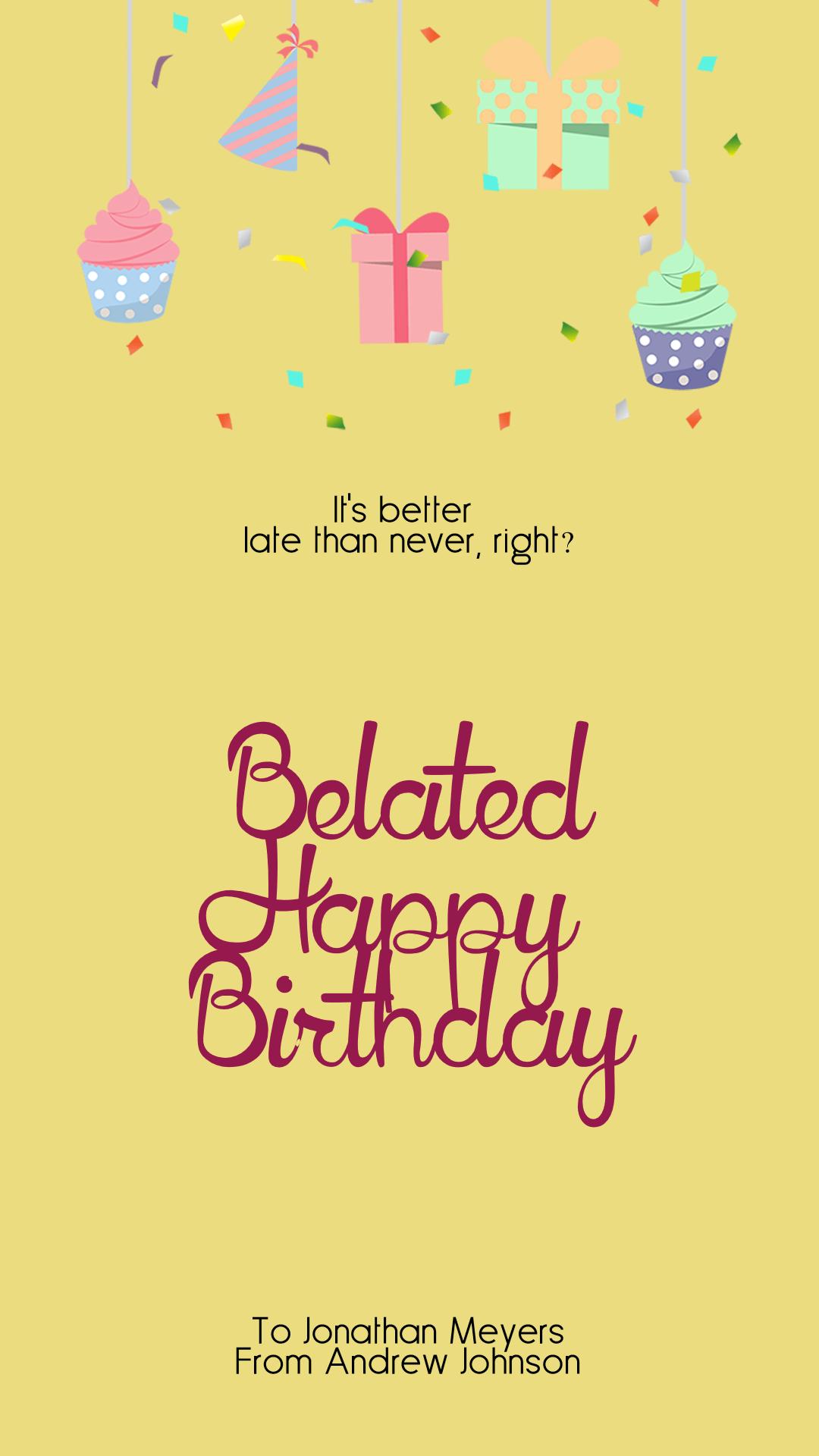Confetti Happy Birthday Message - Design  Template