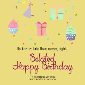 Confetti Happy Birthday Message - Customizable Greeting Card