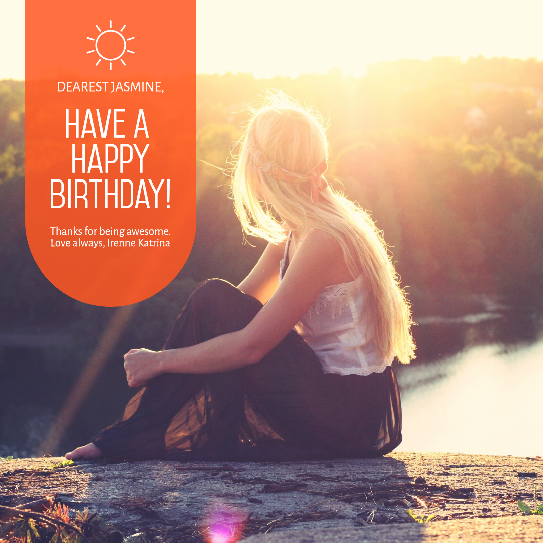 Happy Birthday Photo Social Media Design  Template