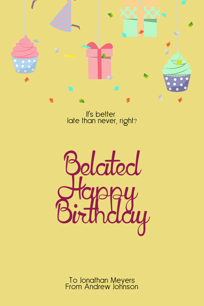 Confetti Happy Birthday Message - Design  Template