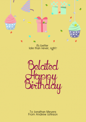 Confetti Happy Birthday Message - Customizable Greeting Card