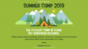 Camping Summer Camp Design - Green Colors