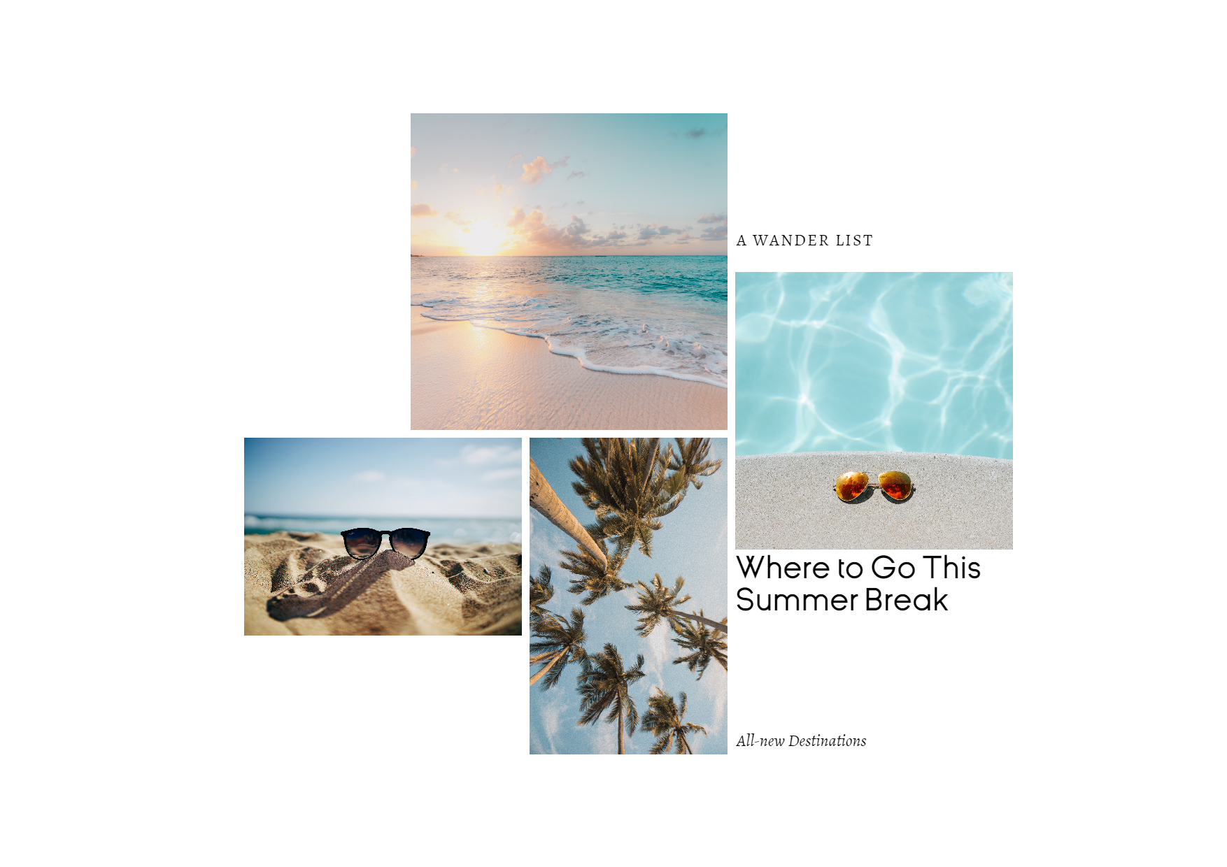 Editable Summer Travel Photo Collage Design  Template