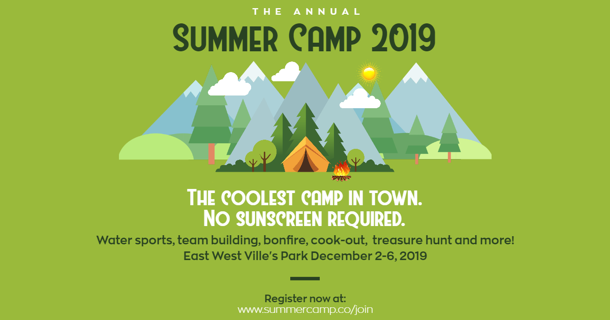 Camping Summer Camp Design - Green Design  Template