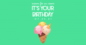 Scream for Ice Cream 0 Editable Greeting Card for Happy Birthday