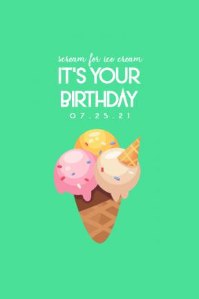 Scream for Ice Cream 0 Editable Greeting Card for Happy Birthday