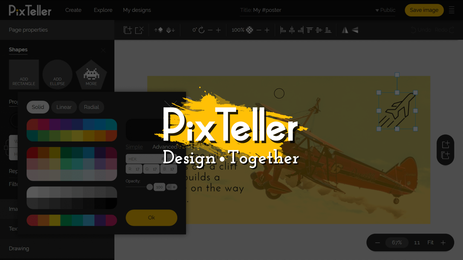 Design together with PixTeller design tool