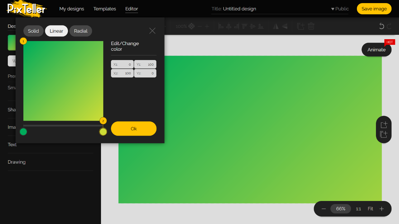 PixTeller Editor Color Picker - Green