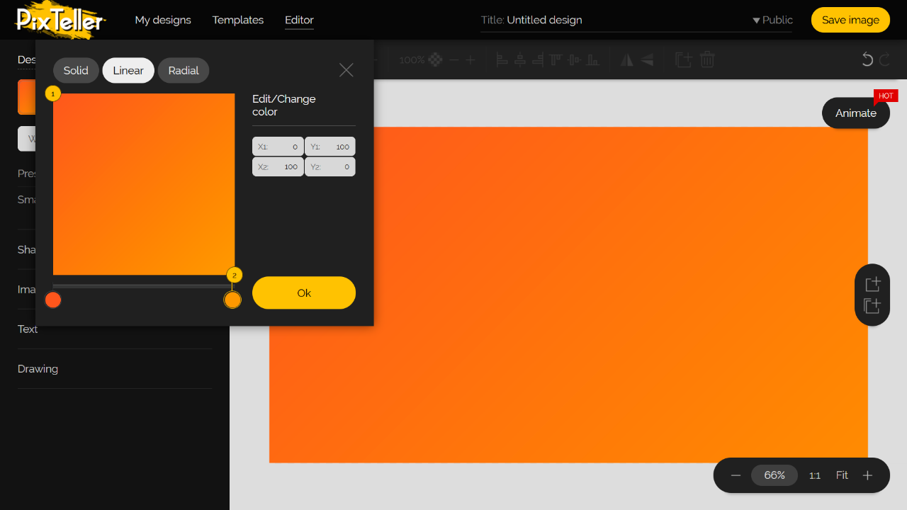 PixTeller Editor Color Picker - Orange