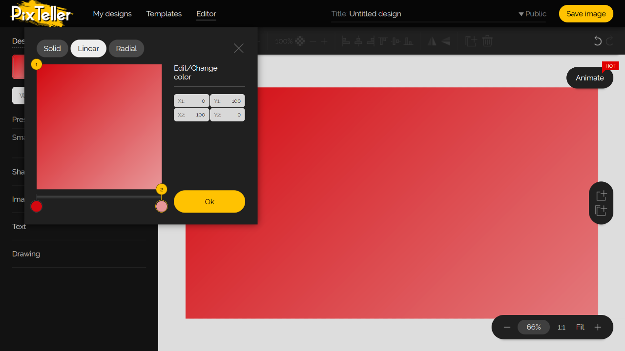 PixTeller Editor Color Picker - Red