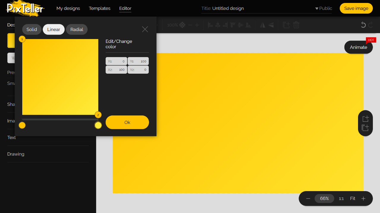 PixTeller Editor Color Picker - Yellow