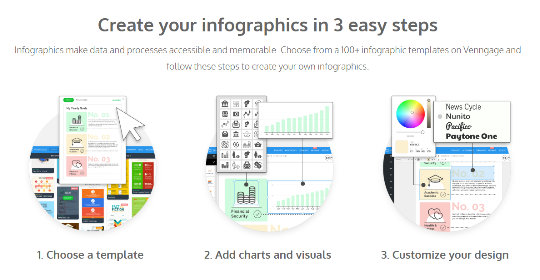 Create your infographics in 3 easy