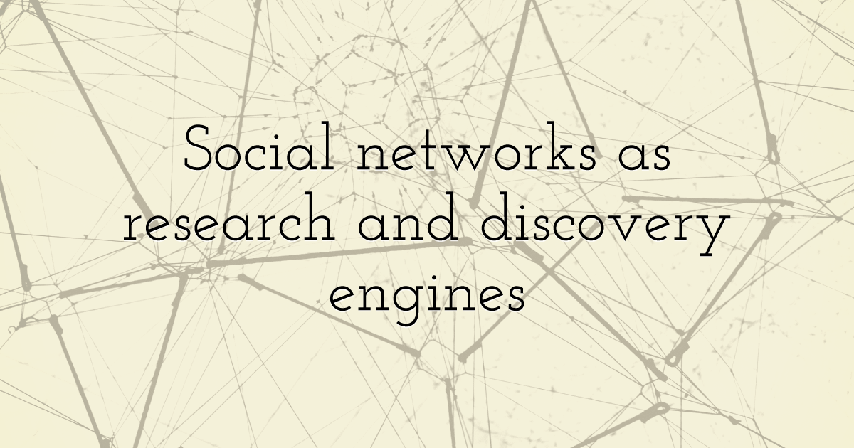 Social networks as research and discovery engines
