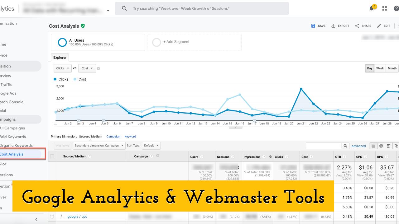 Google Analytics and Webmaster Tools screenshot