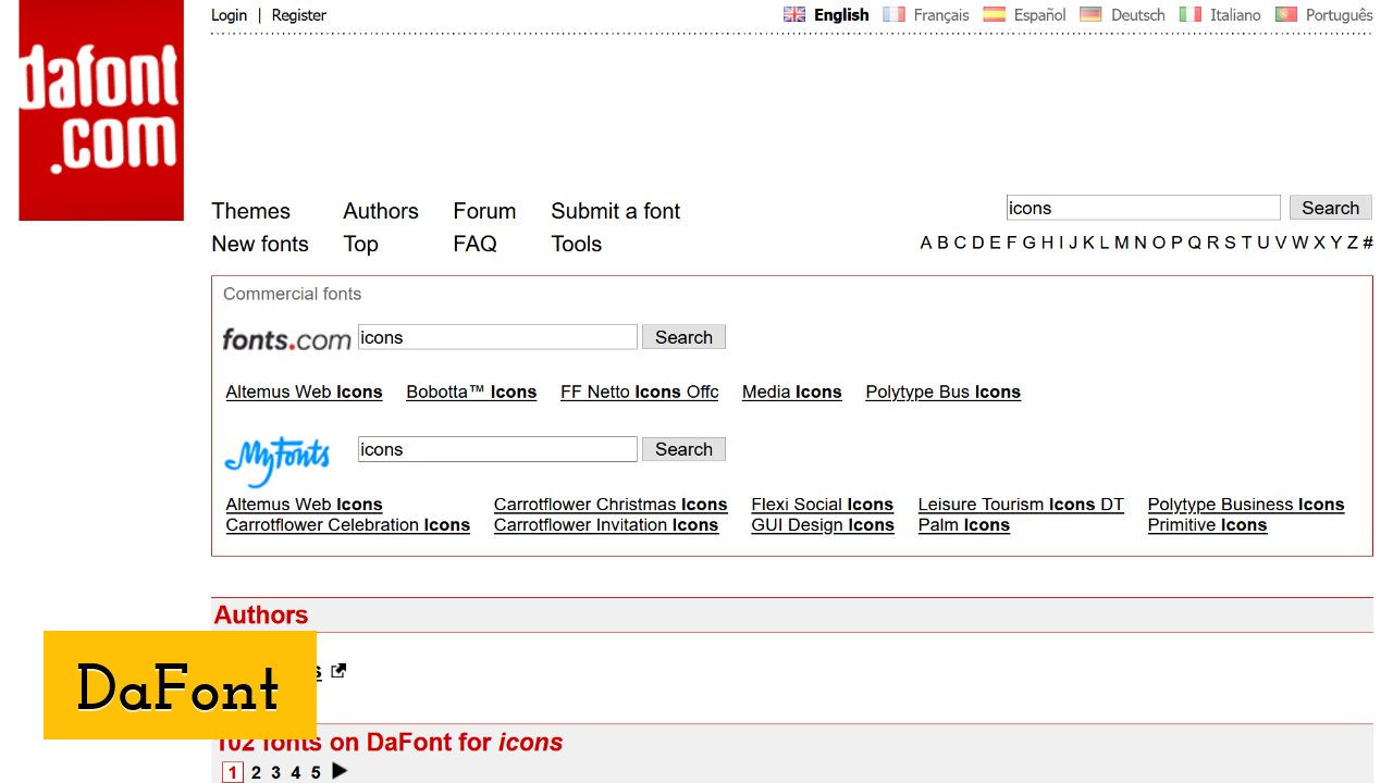 DaFont screenshot