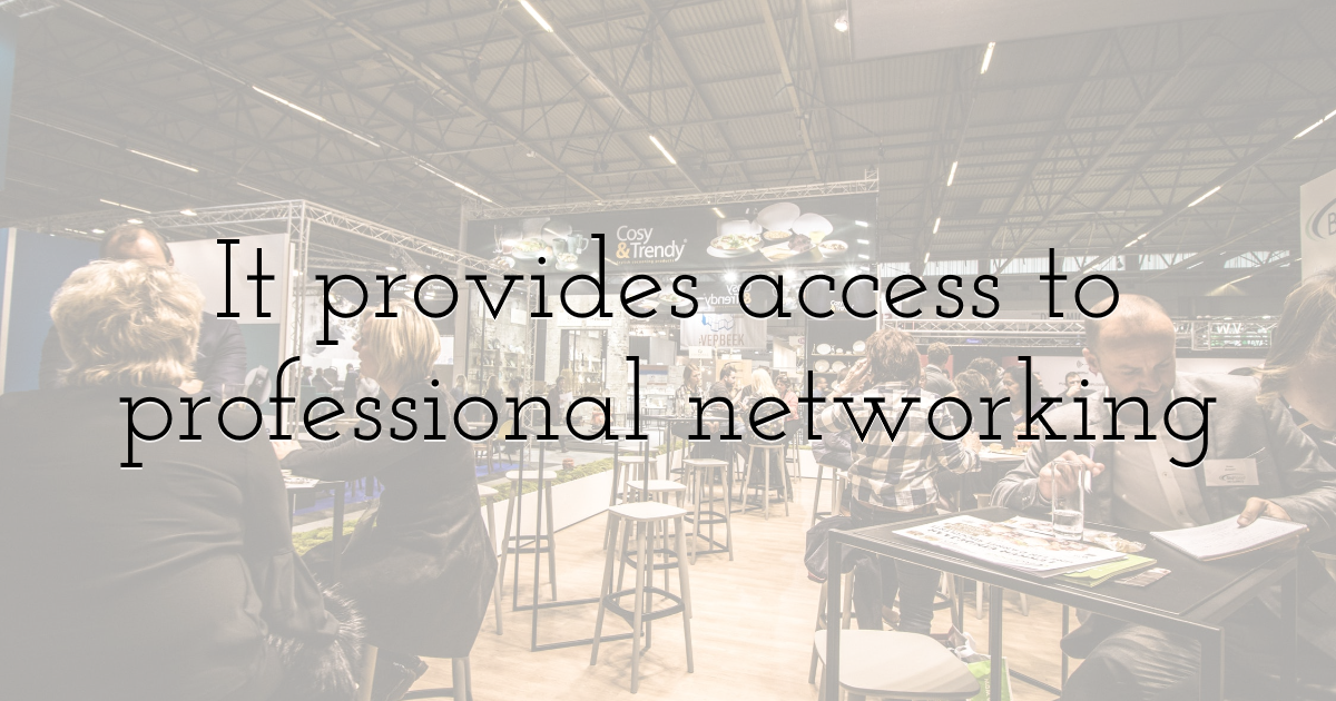 It provides access to professional networking