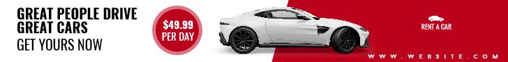 Rent A Car Sale Banner Design  Template