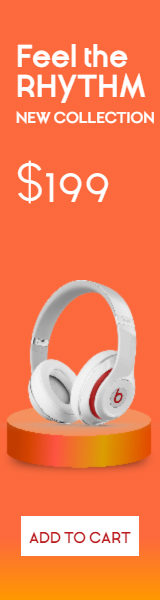 Headphones Sales Banner Design  Template