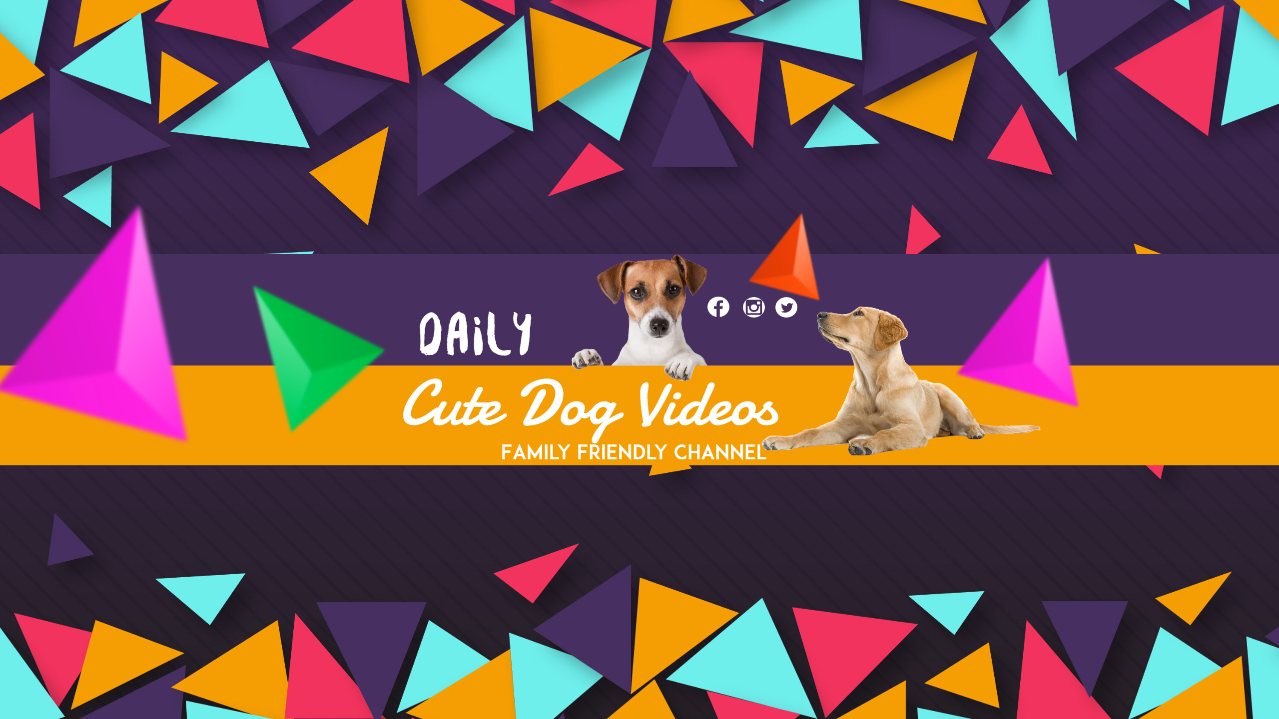 Youtube Dog Channel  Banner Design  Template