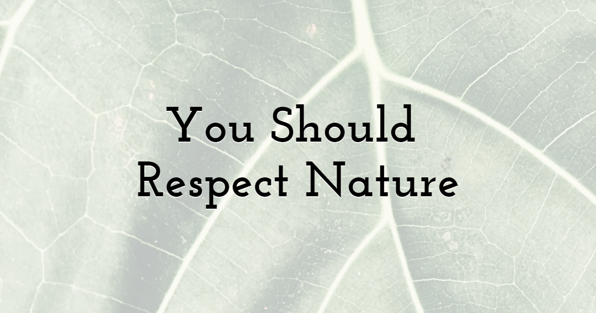 You Should Respect Nature