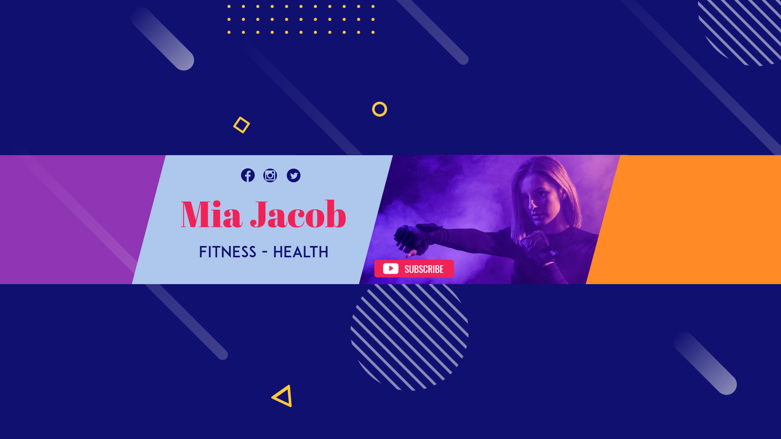 Youtube Fitness Health Sport Channel Design  Template