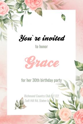 Birthday Party Happy Birthday Party Invitation Elegant Minimal