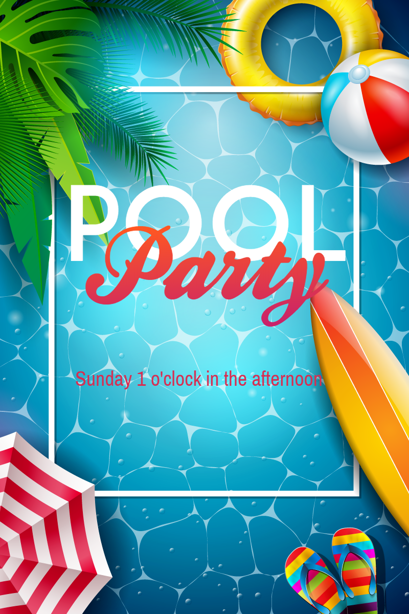 Pool Party Invitation Summer Design  Template