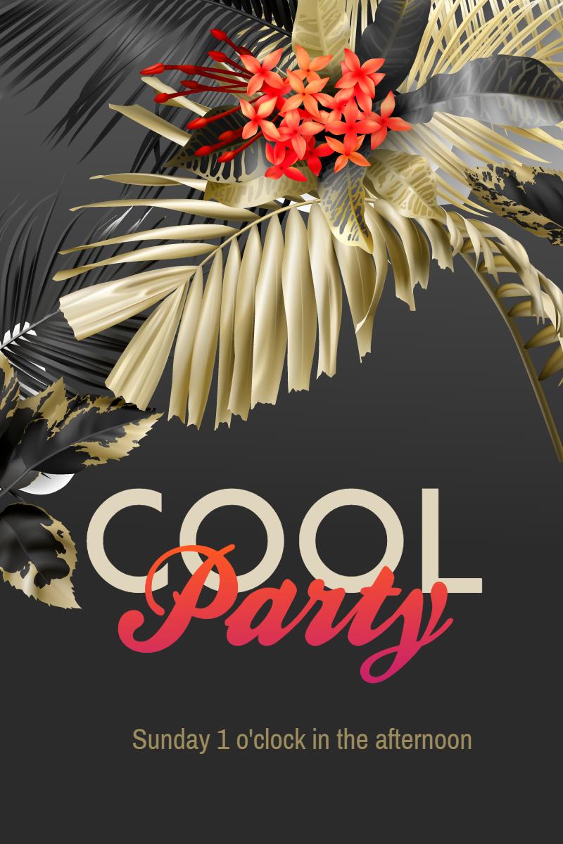 Party Invitation Summer Flower Design  Template