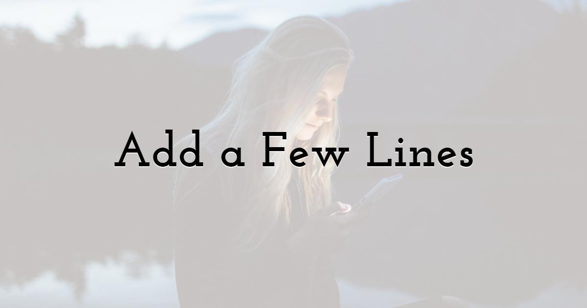 Add a Few Lines