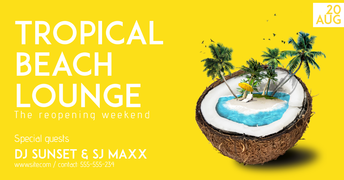 Tropical Beach Lounge #invitation Design  Template