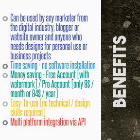 Social media card design template easy to use on PixTeller - #PixTeller  - Benefits #List #Business